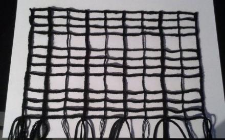 Klöppelnetz aus verschiedenen Garnen