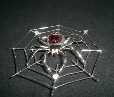 Spinne im Netz mit rotem Strass