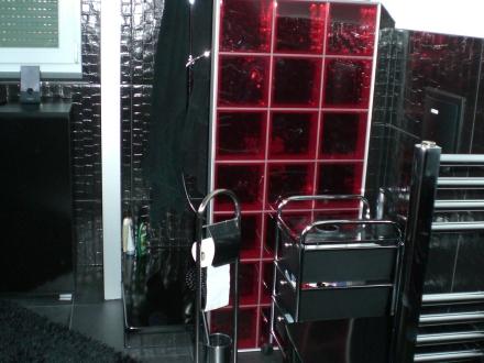 Das ist meine Duschecke mit roten Glasbausteinen