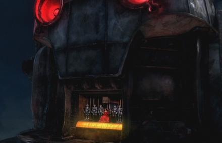 Im Mund des riesigen Cyberman sitzt Mercy als Cyberqueen