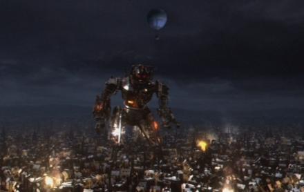 Der Doctor im Heißluftballon über dem riesigen Cyberman